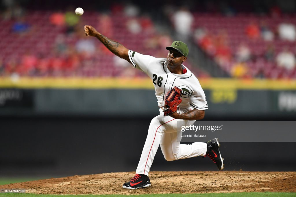 Raisel Iglesias #26 of the Cincinnati Reds pitches in the ninth inning against the Arizona Diamondbacks at Great American Ball Park on August 10, 2018 in Cincinnati, Ohio. Cincinnati defeated Arizona 3-0.