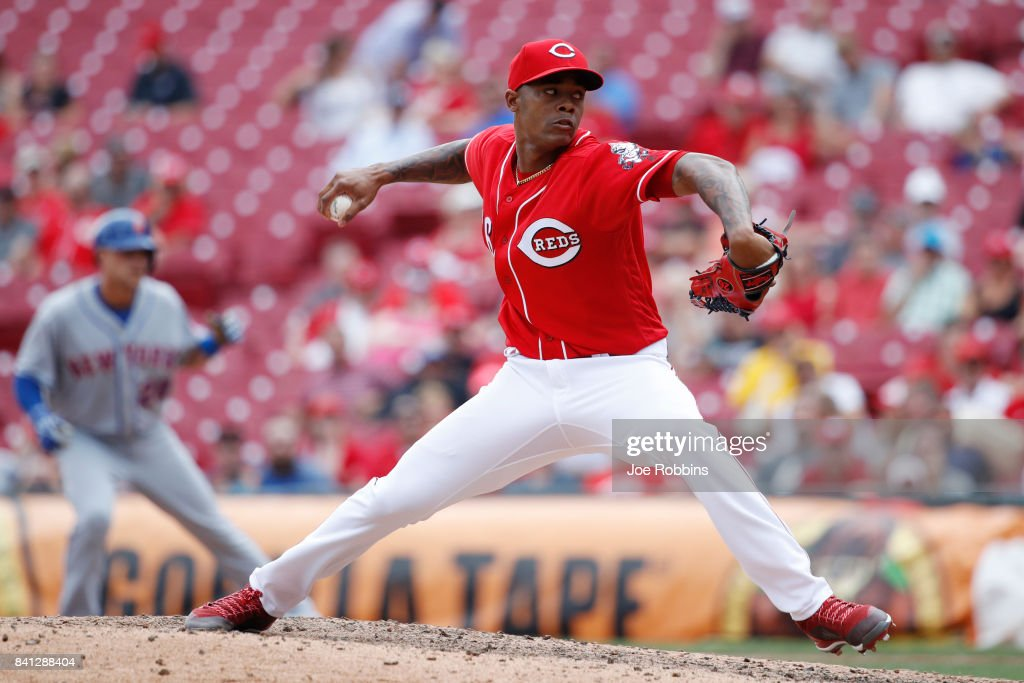 Raisel Iglesias #26 of the Cincinnati Reds pitches in the ninth inning against the New York Mets at Great American Ball Park on August 31, 2017 in Cincinnati, Ohio. The Reds defeated the Mets 7-2.
