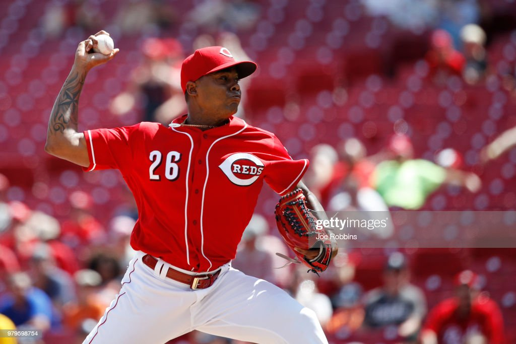 Raisel Iglesias #26 of the Cincinnati Reds pitches in the ninth inning against the Detroit Tigers at Great American Ball Park on June 20, 2018 in Cincinnati, Ohio. The Reds won 5-3.
