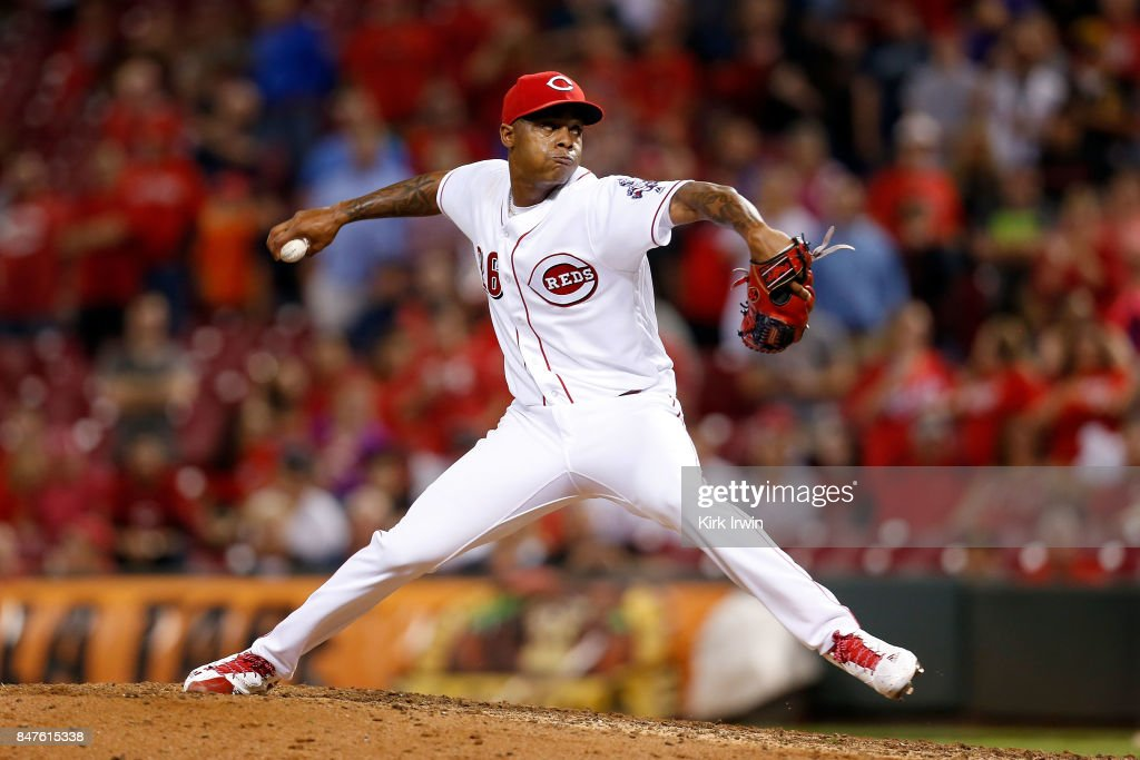 Raisel Iglesias #26 of the Cincinnati Reds throws a pitch while securing a save during the ninth inning of the game against the Pittsburgh Pirates at Great American Ball Park on September 15, 2017 in Cincinnati, Ohio. Cincinnati defeated Pittsburgh 4-2.