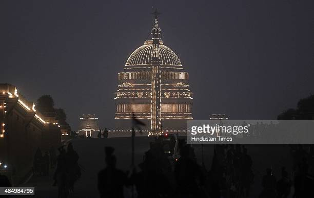 Raisina Hill is seen illuminated during the rehearsal for the Beating Retreat ceremony part of the Republic Day celebrations on January 24 2014 in...