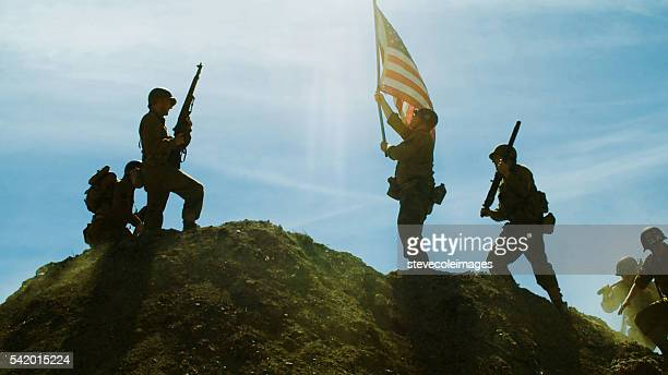 Raising American Flag