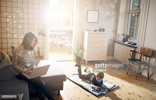 Raising her little boy in a wireless world