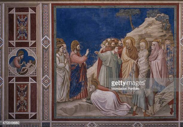 """Raising of Lazarus , by Giotto, 1303-1305, 14th Century, fresco Italy, Veneto, Padua, Scrovegni Chapel. After restoration picture. Whole artwork..."