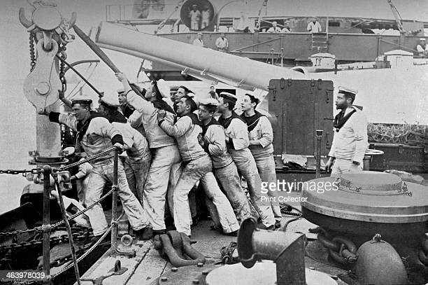 Raising the anchor on the forecastle of the battleship HMS 'Majestic' 1896 When launched in 1895 the 16000 ton 'Majestic' was the largest warship in...