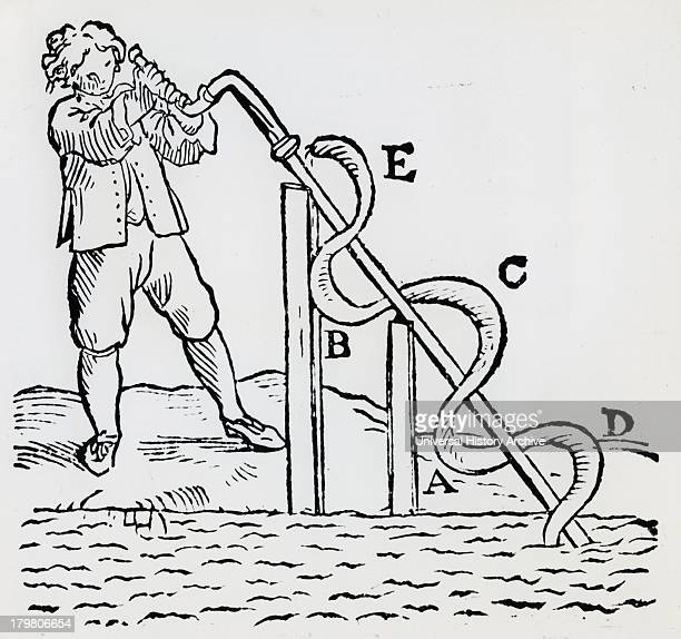Raising water by means of an Archimedean screw Woodcut 1668
