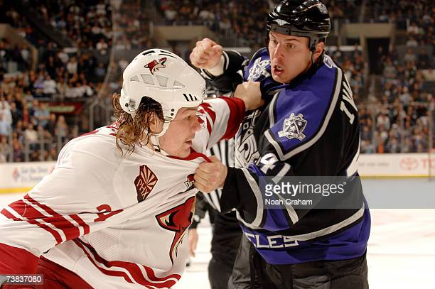 Raitis Ivanans of the Los Angeles Kings gets into a fight with Josh Gratton of the Phoenix Coyotes at the Staples Center April 7 2007 in Los Angeles...