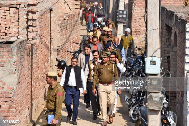 Raj Kumar Regional Director for National Commission of Scheduled Caste along with police officers visited the families of both the murdered victims...