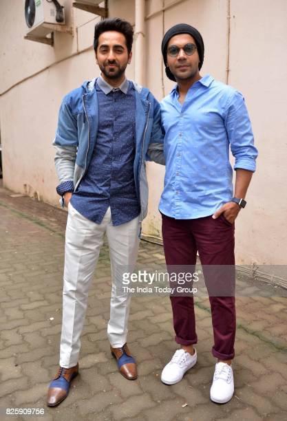 Raj Kumar Yadav and Ayushmann Khurrana during Kriti's birthday celebration in Mumbai