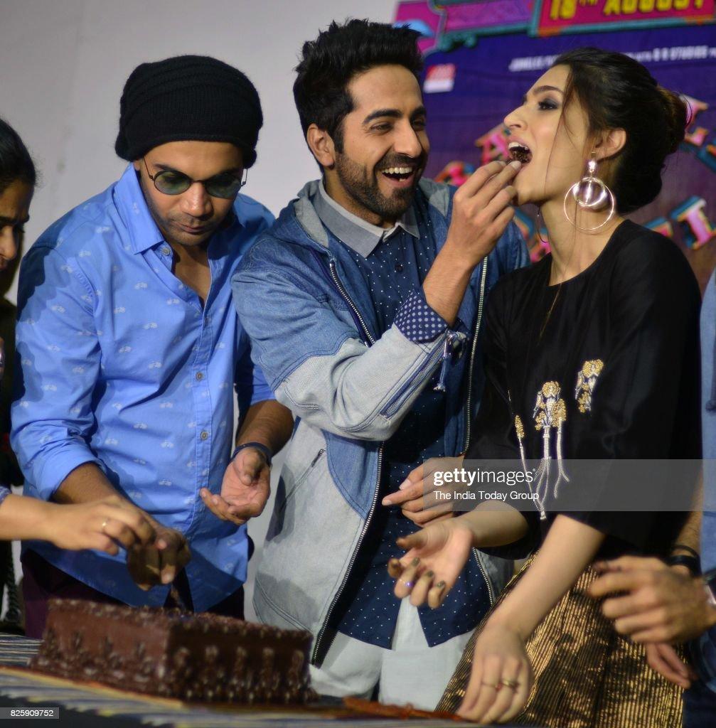 Raj Kumar Yadav Kriti Sanon Ayushmann Khurrana during Kriti`s birthday celebration in Mumbai