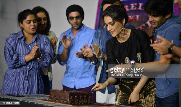 Raj Kumar Yadav Kriti Sanon Ayushmann Khurrana during Kriti's birthday celebration in Mumbai