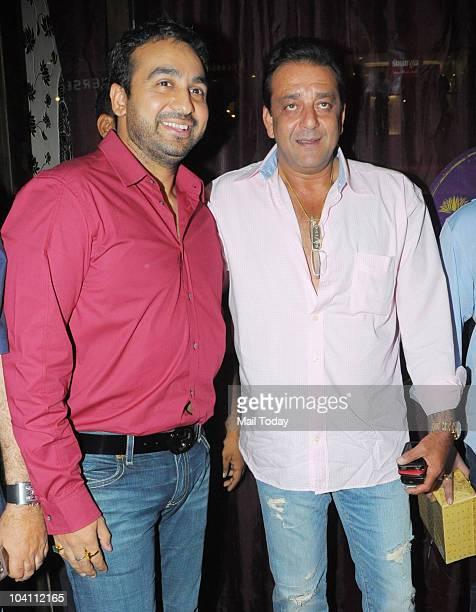 Raj Kundra with Sanjay Dutt at Manyata Dutt's baby shower hosted by Amisha Patel in Mumbai on September 14 2010