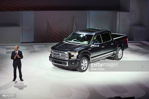 Raj Mair group vp at Ford Motor Company introduces the new Ford F150 pickup truck at the North American International Auto Show on January 13 2014 in...