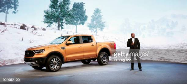 Raj Nair Ford Motor Company Executive Vice President and President of North America introduces the 2019 Ford Ranger midsize truck at its debut at the...