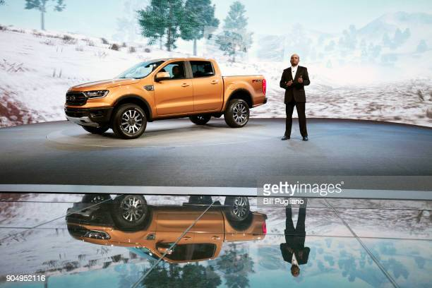 Raj Nair, Ford Motor Company Executive Vice President and President of North America, introduces the 2019 Ford Ranger midsize truck at its debut at...