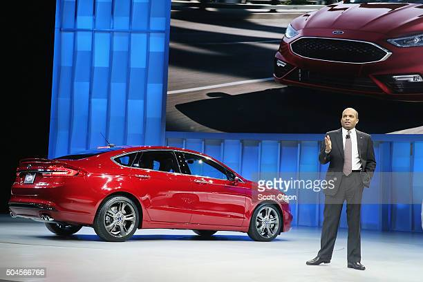 Raj Nair of Ford Motor Company introduces the 2017 Fusion at the North American International Auto Show on January 11 2016 in Detroit Michigan The...