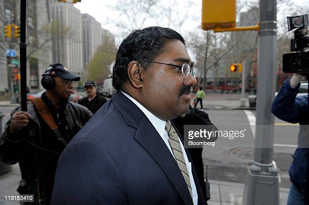 Raj Rajaratnam cofounder of Galleon Group LLC arrives at federal court for his insider trading trial in New York US on Monday April 25 2011...
