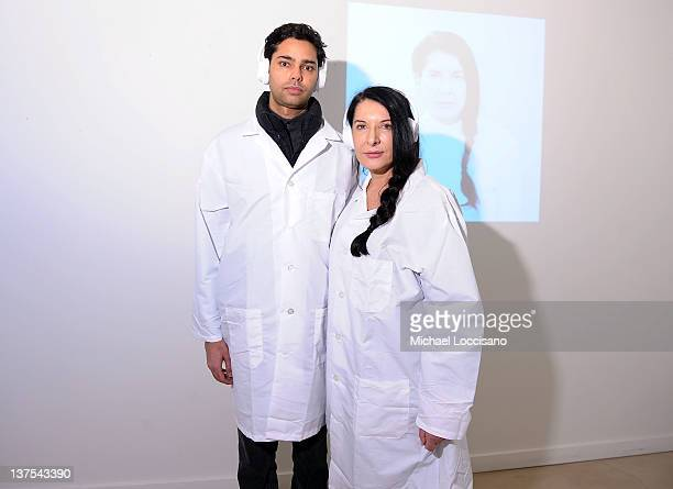 Raj Roy and artist Marina Abramovic attends The Artist is Present Silence Is Golden Event at Julie Nester Gallery on January 21 2012 in Park City Utah