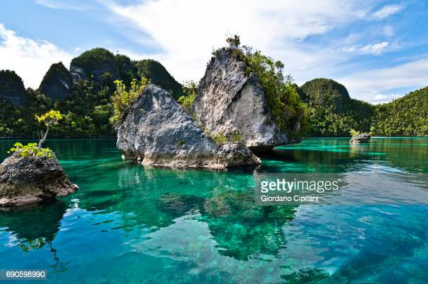 raja ampat islands, wayag - raja ampat islands stock photos and pictures