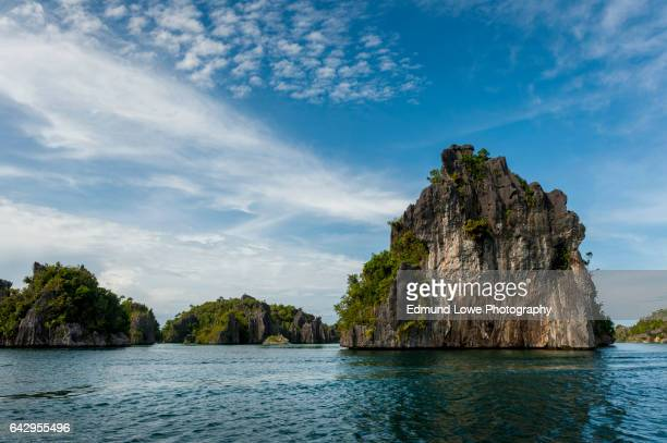 raja ampat limestone islands, indonesia - raja ampat islands stock photos and pictures