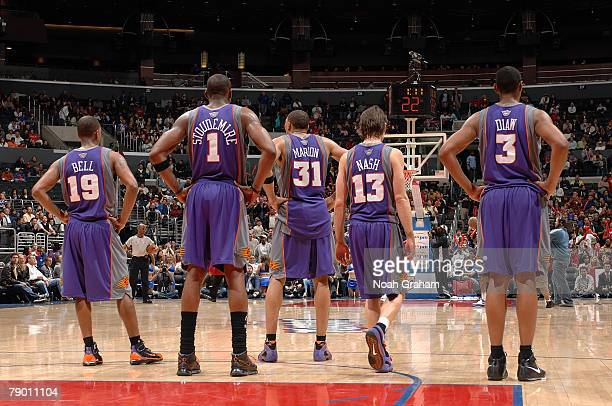 Raja Bell Amare Stoudemire Shawn Marion Steve Nash and Boris Diaw of the Phoenix Suns wait for play to start during the game against the Los Angeles...
