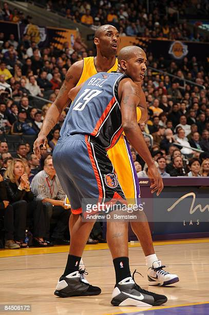 Raja Bell of the Charlotte Bobcats guards Kobe Bryant of the Los Angeles Lakers at Staples Center on January 27 2009 in Los Angeles California NOTE...