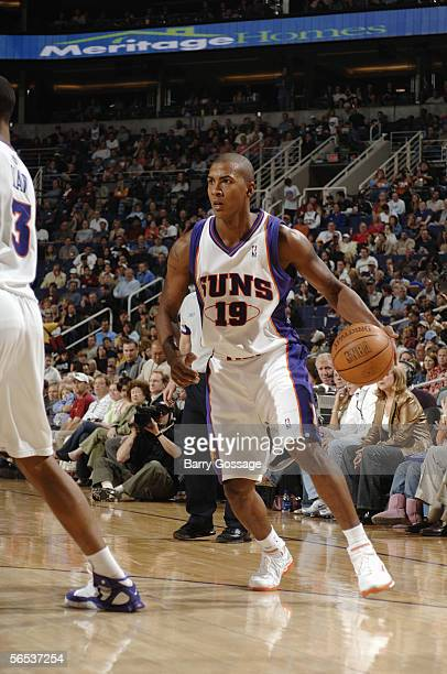 Raja Bell of the Phoenix Suns moves the ball during a game against the New Jersey Nets at America West Arena on November 25, 2005 in Phoenix,...