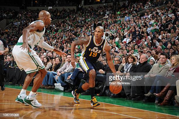 Raja Bell of the Utah Jazz drives to the basket against Ray Allen of the Boston Celtics during the game on January 21 2011 at the TD Garden in Boston...