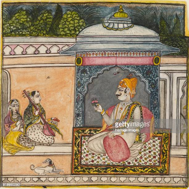 A Raja listening to music on a terrace circa 1800 Dimensions height x width mount 403 x 55 cmheight x width painting 206 x 209 cm