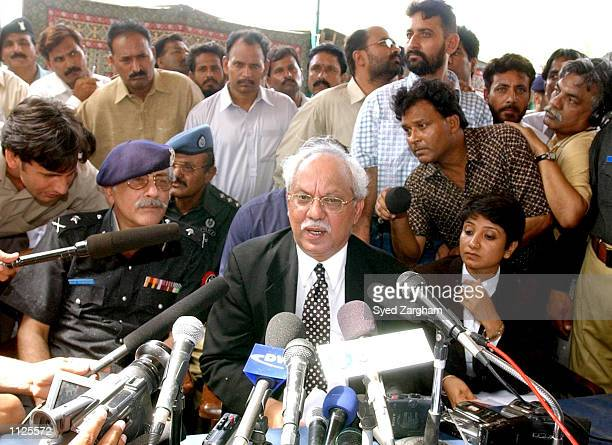 Raja Qureshi, chief prosecutor in the Daniel Pearl case, speaks to the news media from the grounds of the central jail July 15, 2002 in Hyderabad,...