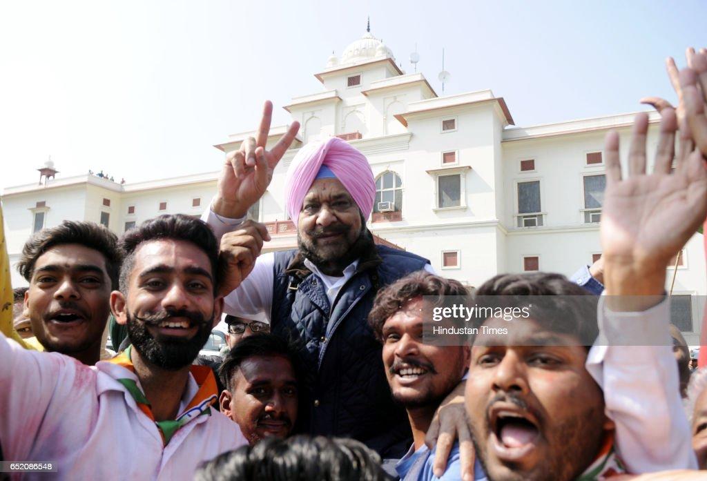 Raja Randhir Singh brother of Capt Amarinder Singh celebrating after landslide victory in Punjab assembly elections on March 11 2017 in Amritsar...