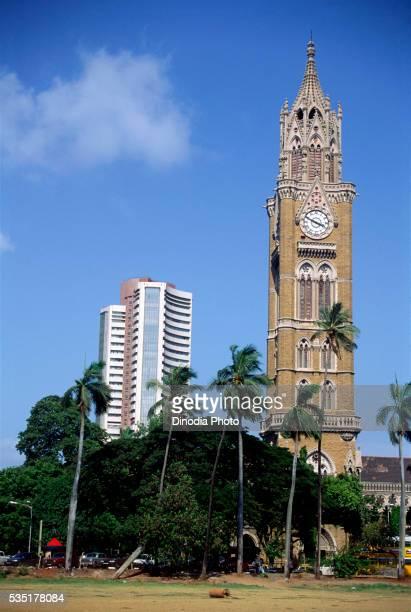 Rajabai Tower and Stock Exchange Building at Azad Maidan in Mumbai, Maharashtra, India.