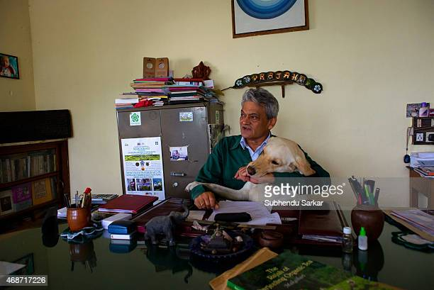 Rajah Banerjee at his office at the Makibari tea estate with his favourite Labrador Set up in 1859 off Kurseong in the Darjeeling hills the Makaibari...
