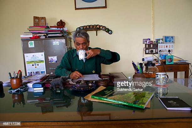 Rajah Banerjee sips fresh tea at his office at the Makibari tea estate Set up in 1859 off Kurseong in the Darjeeling hills the Makaibari estate is...