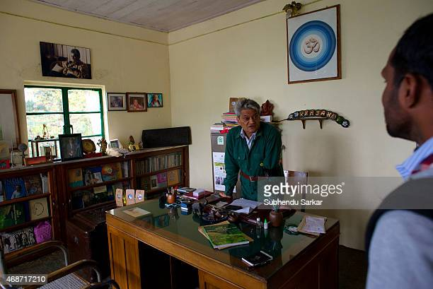 Rajah Banerjee talks to a staff member at his office at the Makibari tea estate Set up in 1859 off Kurseong in the Darjeeling hills the Makaibari...