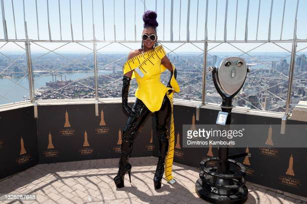 """Ra'Jah O'Hara attends as Empire State Building hosts the cast of """"RuPaul's Drag Race All Stars"""" Season 6 on June 24, 2021 in New York City."""