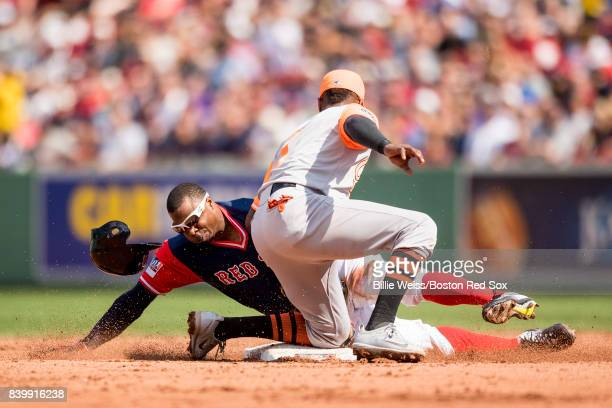 Rajai Davis of the Boston Red Sox is tagged out by Tim Beckham of the Baltimore Orioles as he attempts to steal second base during the fourth inning...