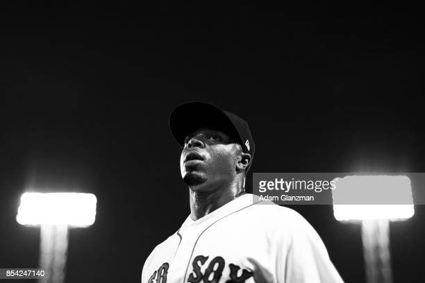 Rajai Davis of the Boston Red Sox looks on before a game against the Toronto Blue Jays at Fenway Park on September 25 2017 in Boston Massachusetts