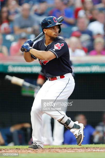 Rajai Davis of the Cleveland Indians bats against the New York Yankees in the fourth inning at Progressive Field on July 14 2018 in Cleveland Ohio...