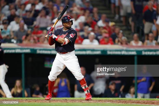 Rajai Davis of the Cleveland Indians bats against the New York Yankees in the ninth inning at Progressive Field on July 14 2018 in Cleveland Ohio The...