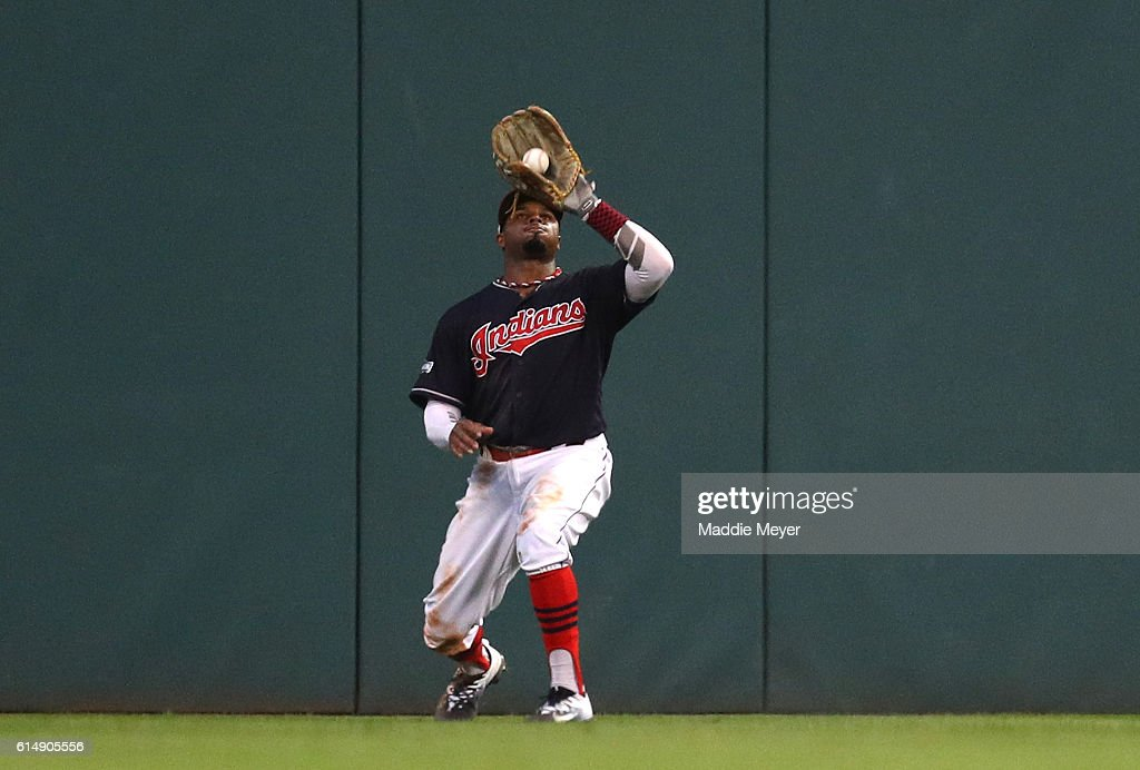 Rajai Davis #20 of the Cleveland Indians catches the final out hit by Troy Tulowitzki #2 of the Toronto Blue Jays to end the ninth inning during game two of the American League Championship Series at Progressive Field on October 15, 2016 in Cleveland, Ohio.