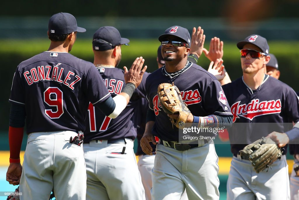 Rajai Davis #26 of the Cleveland Indians celebrates a 6-0 win over the Detroit Tigers with teammates at Comerica Park on May 16, 2018 in Detroit, Michigan.