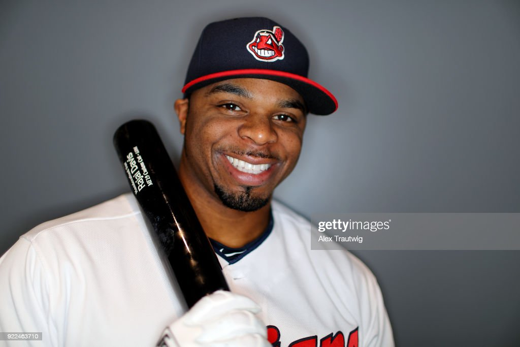 Rajai Davis #26 of the Cleveland Indians poses during Photo Day on Wednesday, February 21, 2018 at Goodyear Ballpark in Goodyear, Arizona.
