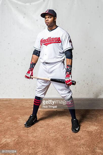 Rajai Davis of the Cleveland Indians poses for a portrait during photo day at the Cleveland Indians Development Complex on February 27 2016 in...