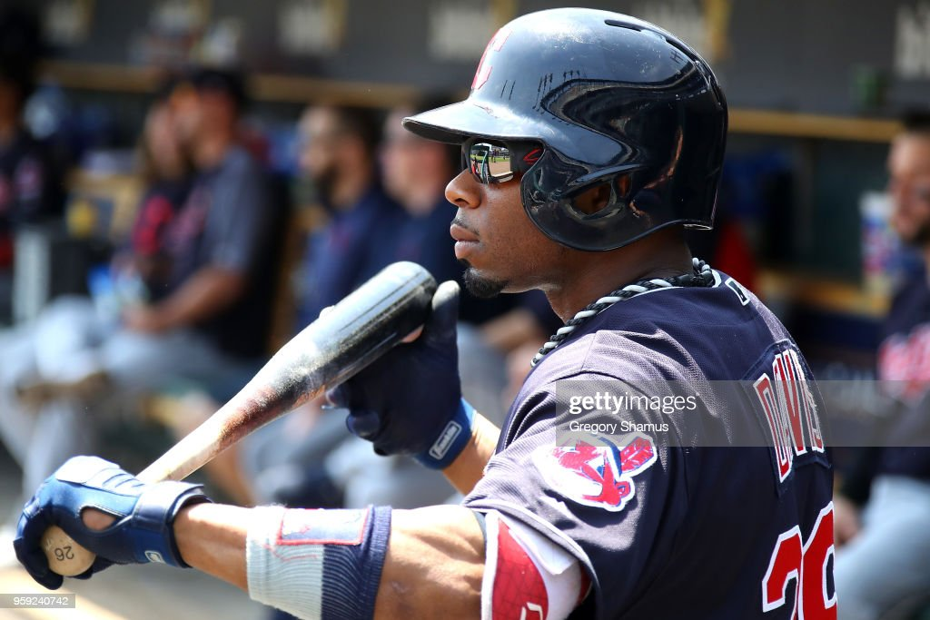 Rajai Davis #26 of the Cleveland Indians waits to bat in the first inning against the Detroit Tigers at Comerica Park on May 16, 2018 in Detroit, Michigan.