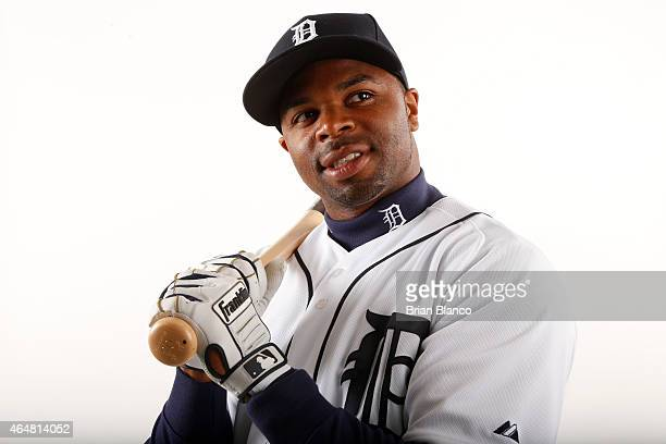 Rajai Davis of the Detroit Tigers poses for a photo during the Tigers' photo day on February 28 2015 at Joker Marchant Stadium in Lakeland Florida