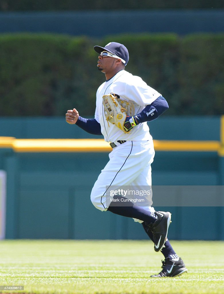 Rajai Davis #20 of the Detroit Tigers runs across the field during the game against the Minnesota Twins at Comerica Park on May 14, 2015 in Detroit, Michigan. The Tigers defeated the Twins 13-1.