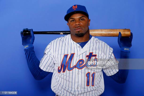 Rajai Davis of the New York Mets poses for a photo on Photo Day at First Data Field on February 21 2019 in Port St Lucie Florida