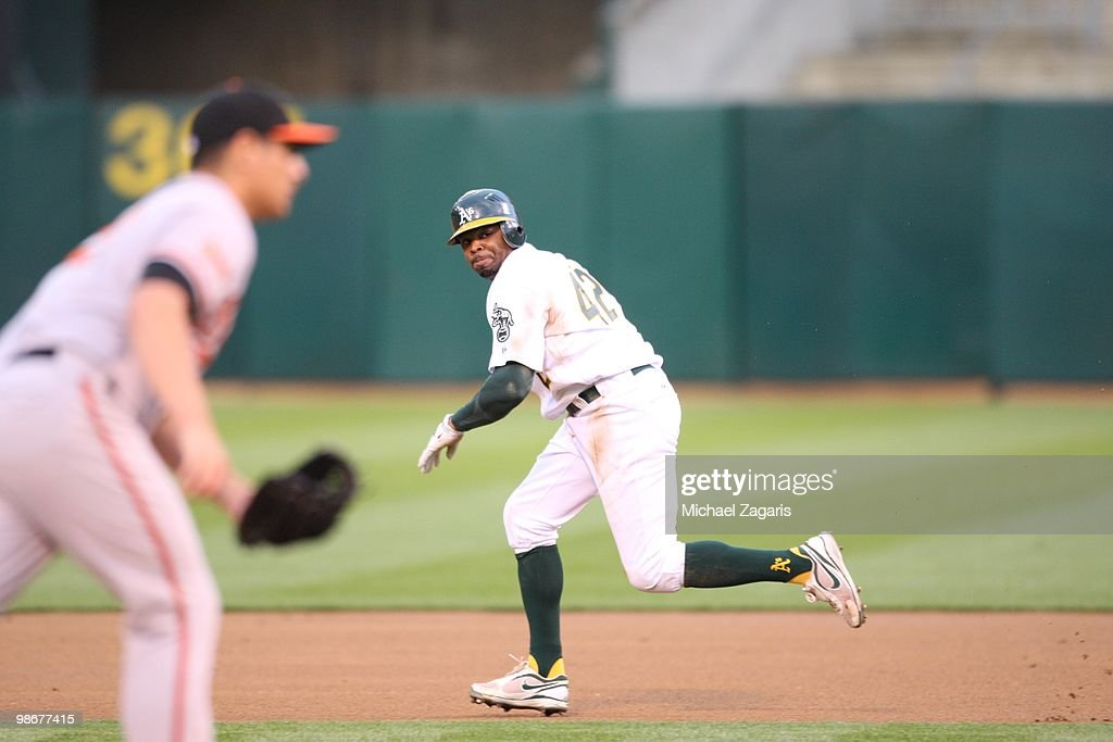 Rajai Davis #11 of the Oakland Athletics running the bases during the game against the Baltimore Orioles at the Oakland Coliseum in Oakland, California on April 15, 2010. The Athletics defeated the Orioles 6-2. All Major League players wore number 42 today in honor of Jackie Robinson.
