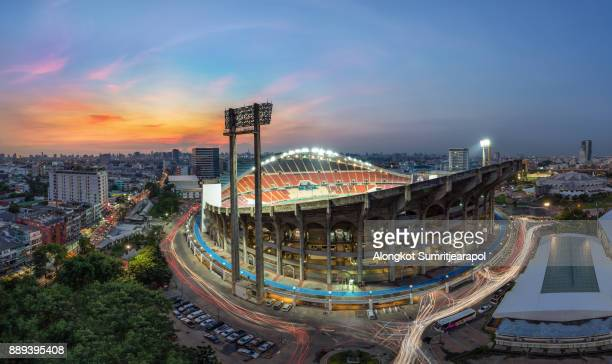 Rajamangala national stadium, Bangkok downtown city in twilight